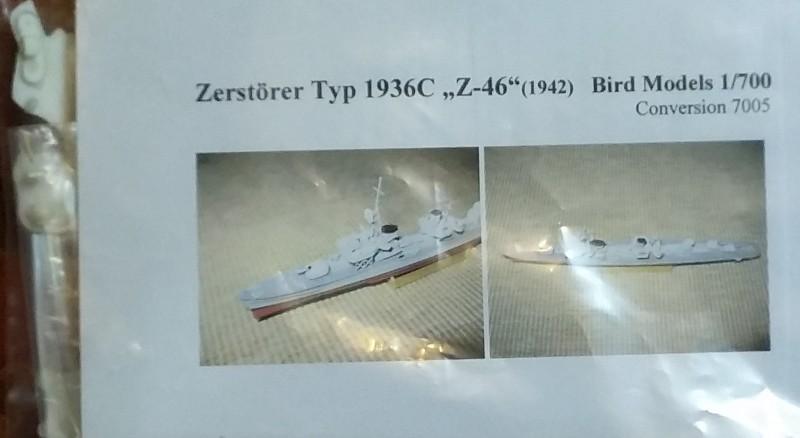 1942 Zerstörer Typ 1936C  Z-46 resin conversion 1//700 Bird Models Umbausatz